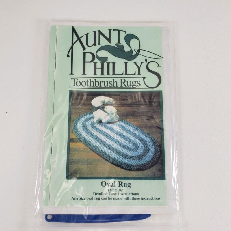 """Aunt Phillys Toothbrush Rugs Pattern 20 x 30 Rectangle & 8"""" Square Rugs and Tool"""