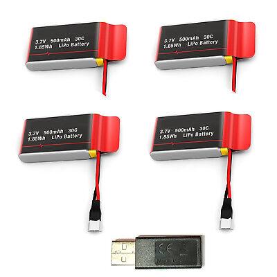 3.7V 500mAh Drone Lipo Batteries 4pcs+USB Charger for CW4 U42W U45W Quadcopter