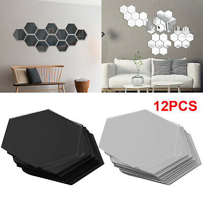 Home Decoration - 12Pcs 3D Hexagon Acrylic Mirror Wall Stickers Home Room DIY Art Removable Dector