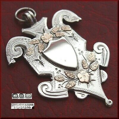 Victorian antique solid silver fob medal for a pocket watch chain / pendant 1894