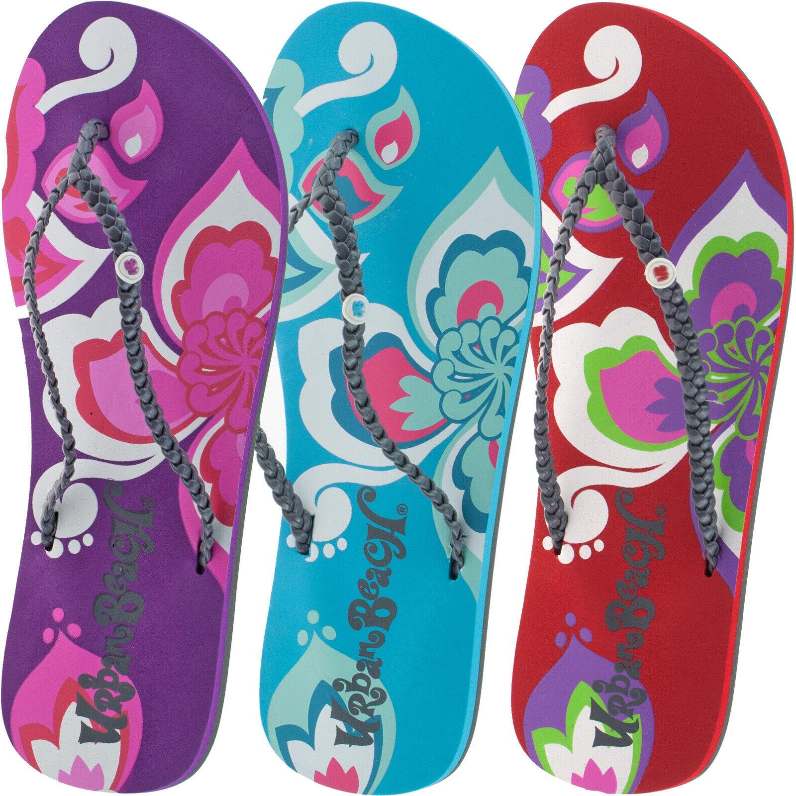 Ladies Urban Beach Surf Petals Flip Flops Sandals Size Uk -9958