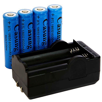 4x Casung 6000mAh 18650 Battery 3.7v Li-ion Rechargeable Batteries + Charger