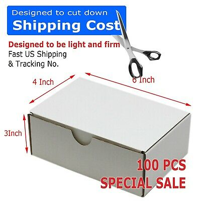 100 - 6x4x3 White Corrugated Shipping Mailer Packing Box Boxes 6 X 4 X 3