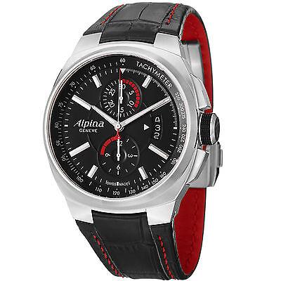 Alpina Men's Racing Chronograph Automatic Black Leather Strap Watch AL725B5AR26