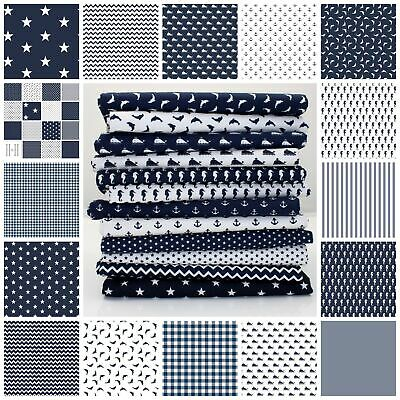 Navy Stripe Gingham Dots Stars 100% Cotton Fabric Nursery Patchwork