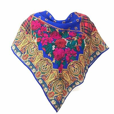 "Vintage Scarf Styles -1920s to 1960s VINTAGE ECHO WOMEN'S 100% WOOL SCARF Floral Plaided Paisley Made In JAPAN 34"" $12.00 AT vintagedancer.com"