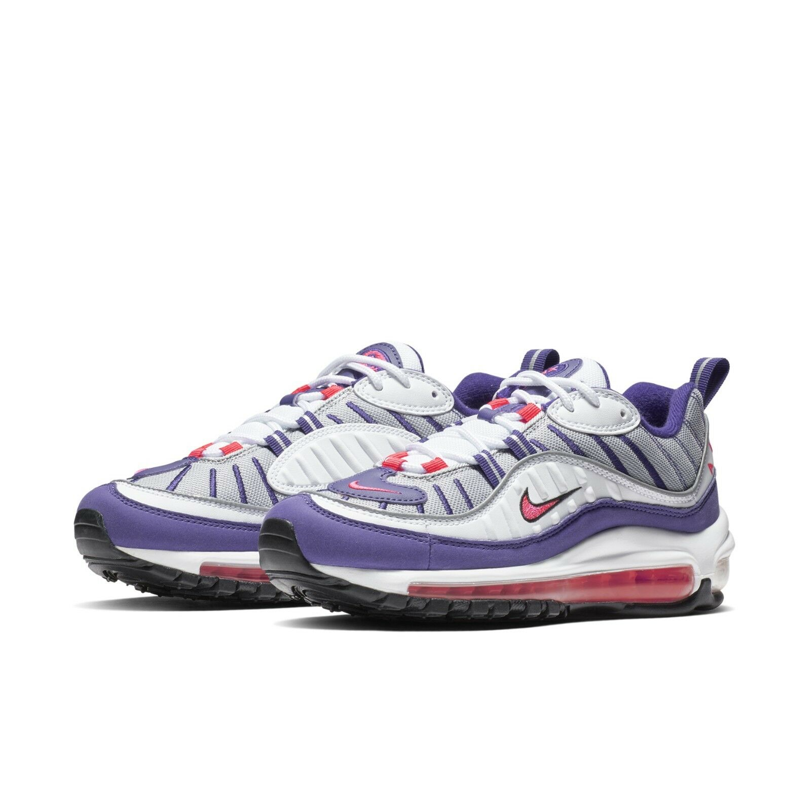 4f99e9ff378 Nike Womens Wmns Air Max 98 Raptors White Racer Pink Purple Sneakers AH6799- 110