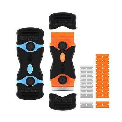 2PACK Razor Blade Scraper 2-in-1 Scraper Tool with 12Pcs Plastic Blades and 8Pcs
