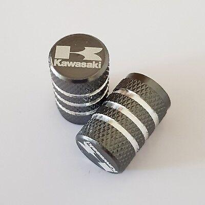 KAWASAKI GREY Wheel Valves Tire Dust Caps universal Fit Fits all Bikes Set of 2