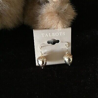 NWT Talbots Women's metal Gold tone Acorn Drop Earrings