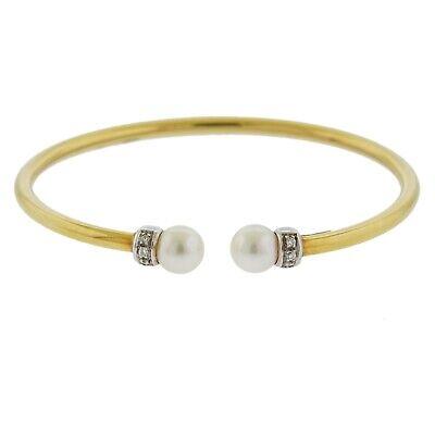 Italian 18k Yellow Gold Diamond Pearl Cuff Bracelet  Gold Diamond Cuff Bracelet