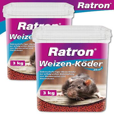 Frunol Delicia 2 x 3 KG Ratron Weizenköder 29 Ppm IN Bucket Rat Poison Giftköder