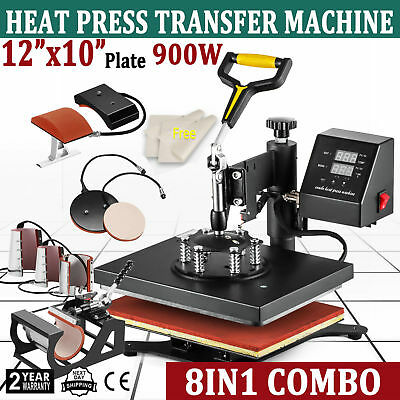 8 In 1 Dual Digital Transfer Sublimation Heat Press Machine T-shirt Mug 12x10