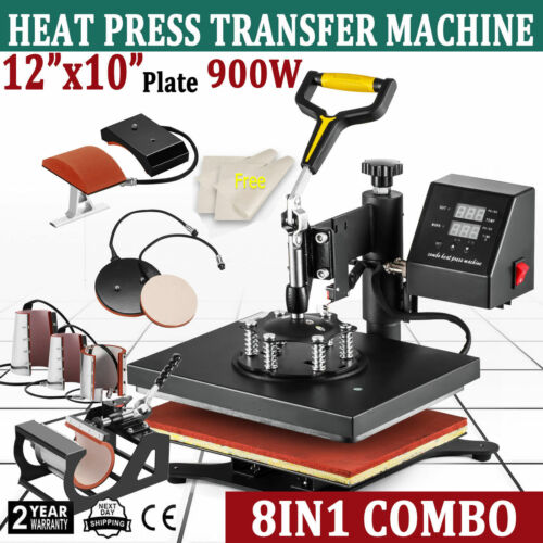 8 in 1 Dual Digital Transfer Sublimation Heat Press Machine T-Shirt Mug 12x10