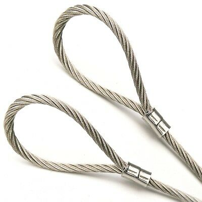 316 Vinyl Coated Stainless Steel Cable With Loops 18 7x19 Core 1ft To 70ft