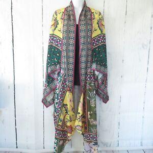 New Umgee Duster Kimono Cardigan M L Floral Animal Print Scarf Boho Peasant