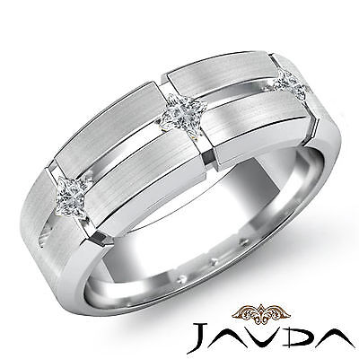 Mens Half Wedding Band 3 Stone Princess Bezel Diamond Ring 18k White Gold 0.3Ct