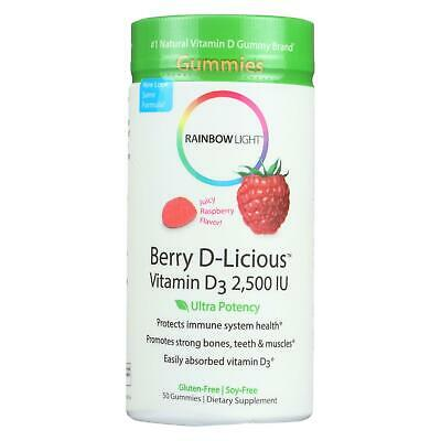 Rainbow Light Berry-D-Licious Vitamin D3 Ripe Raspberry - 2500 IU - 50 Gummies - Rainbow Light Berry