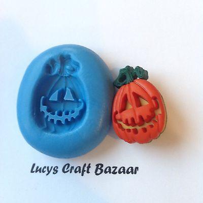 Silicone Mould Carved Pumpkin 2 Jack O Lantern Halloween Spooky Sugarcraft Fimo