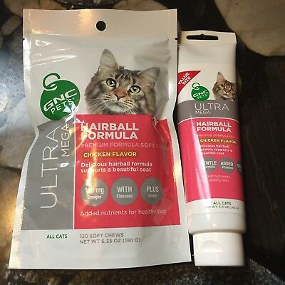 - GNC PETS ULTRA MEGA HAIRBALL FORMULA CHICKEN LOT OF 2 PAW PASTE & TREATS NEW