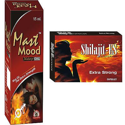 Herbal Sex Enhancer Supplements For Men 60 Shilajit ES Caps - 3 Mast Mood Oil
