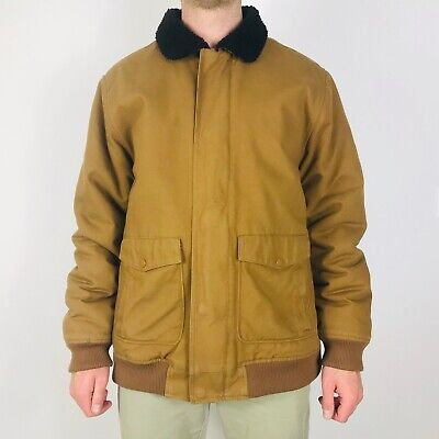 Vans Men's Large Brown Jacket Coat Sherpa Lined Full Zip