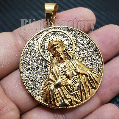 Iced out Hip Hop Stainless steel Gold Tone Holy Jesus Medal Charm Pendant ()