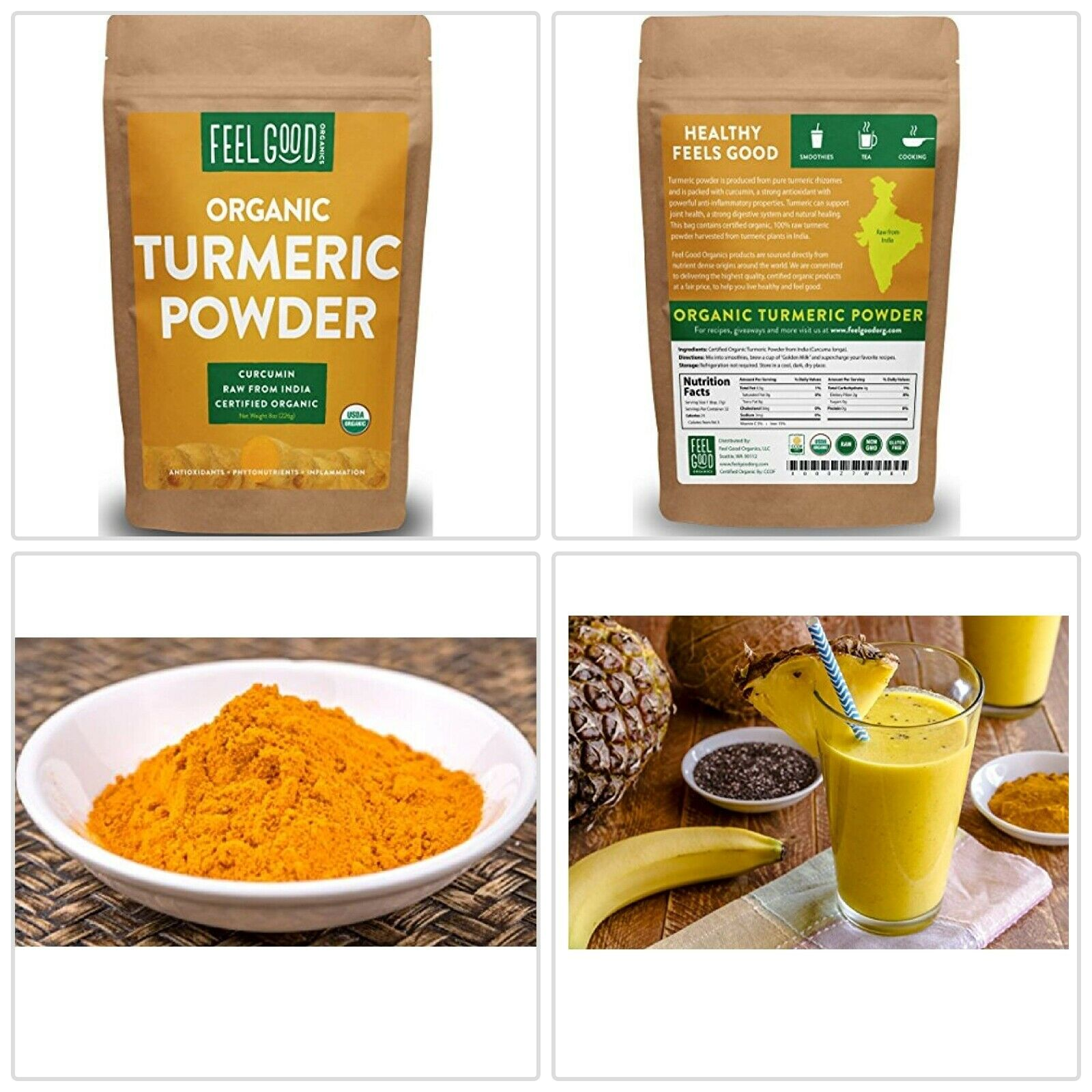 Organic TURMERIC Root Powder Raw Curcumin From India by Feel