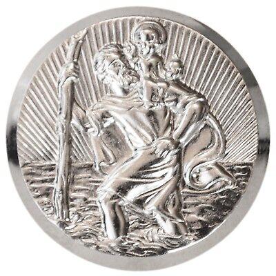 3D Relief Plakette Heiliger Sankt Christophorus 42 mm Schutzpatron der Reisenden
