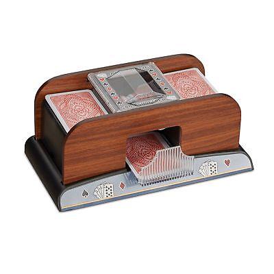 Relaxdays Kartenmischer elektrisch 2 Decks Kartenmischmaschine Holz Optik bat...