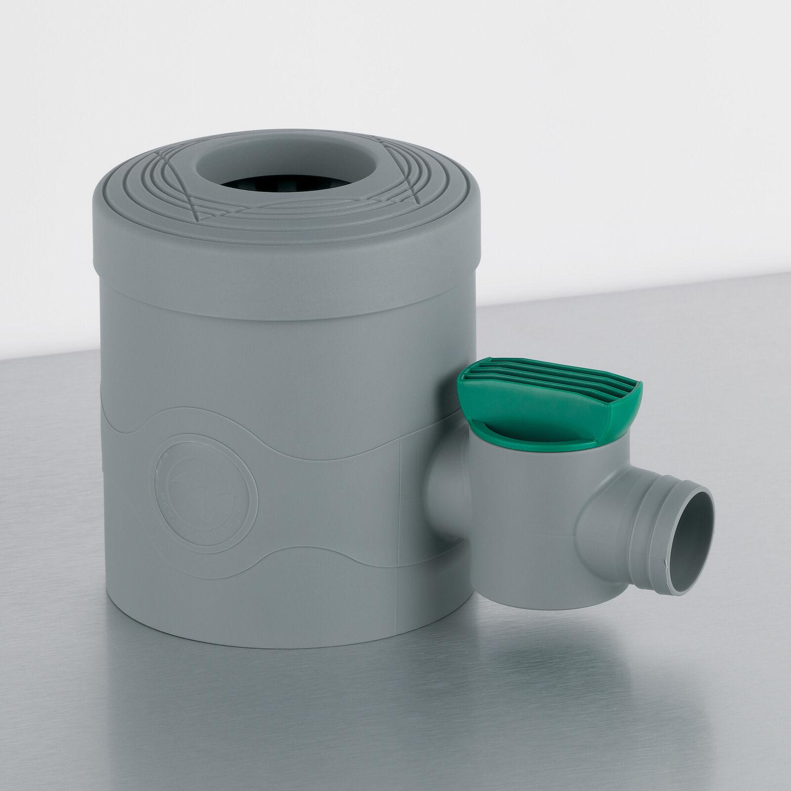 Regensammler Regenwassersammler Fallrohrfilter mit Absperrhahn grau