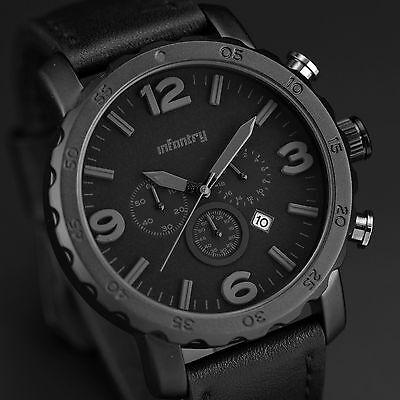 INFANTRY Mens Quartz Army Wrist Watch Date Military Analog Leather Chronograph
