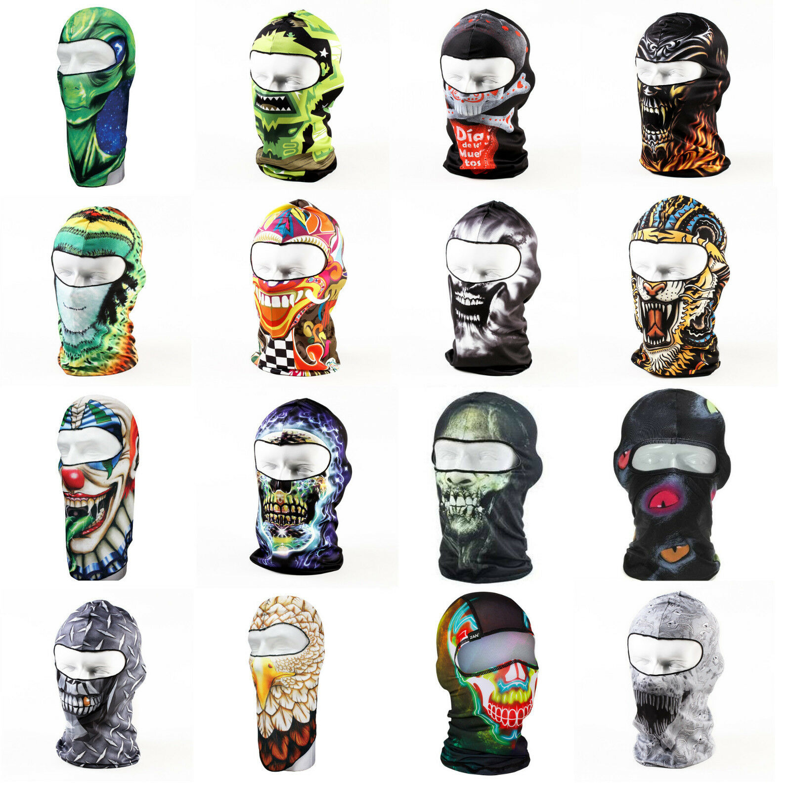 Graphic Winter Monster Animal Biker Motorcycle Full Face Ski Mask Balaclava
