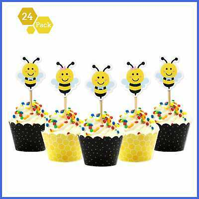 Bumble Bee Cupcake Toppers & Wrappers For Gender Reveal Baby Shower Party Decora](Gender Reveal Cupcake Toppers)
