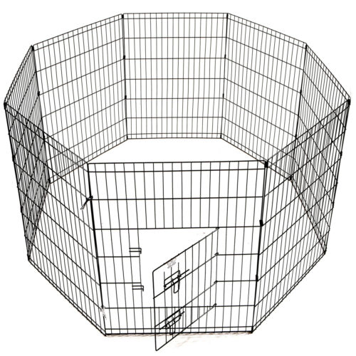8 Panels Foldable Dog Playpen Crate Metal Fence Pet Puppy Play Pen Exercise Cage