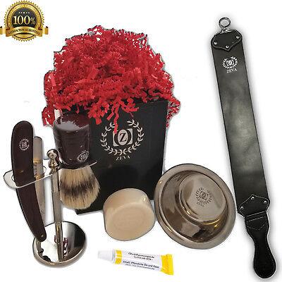Grooming Shaving Trimmer Knife Set Mens Mustache Beard Kit Brush Strop Barber