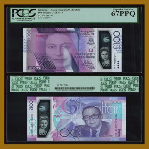 Gibraltar 100 Pounds, 2015 P-40 (3 Digit S/N) Queen Elizabeth II PCGS 67 PPQ