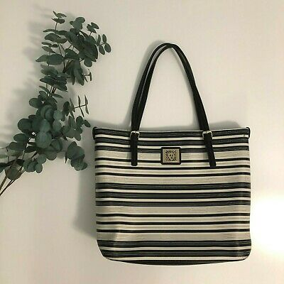Anne Klein Work / Casual Shoulder Tote Bag - Black / White Striped
