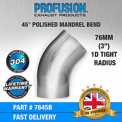 "45 degree 3"" 76mm Tight 1D Mandrel Exhaust Bend T304 Stainless Steel Polished"