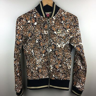 PUMA Womens Track Jacket Zip Front Fitted Athletic Animal Print Size