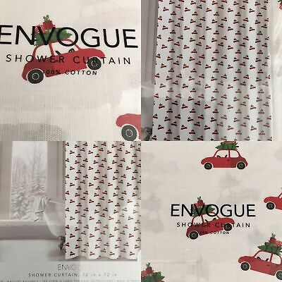 Envogue Merry Christmas Tree Red Truck Shower Curtain Winter Fabric %100 Cotton ()