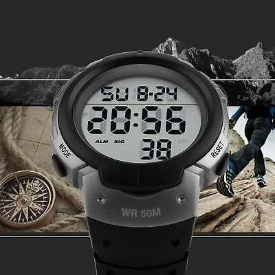 SKMEI Mens Large Number LED Digital Sports Waterproof Chrono Quartz Wrist - Large Chrono Watch