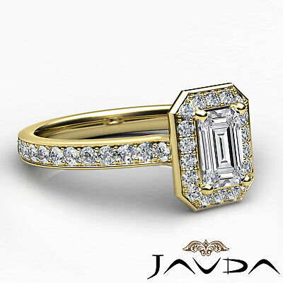 Emerald Cut Halo Pave Set Diamond Engagement Ring GIA G VS1 Platinum 950 0.95Ct 9