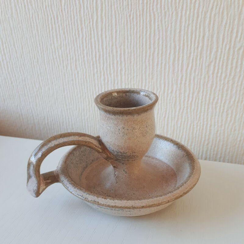 Studio Pottery stoneware Candlestick / Chamberstick Signed great gift