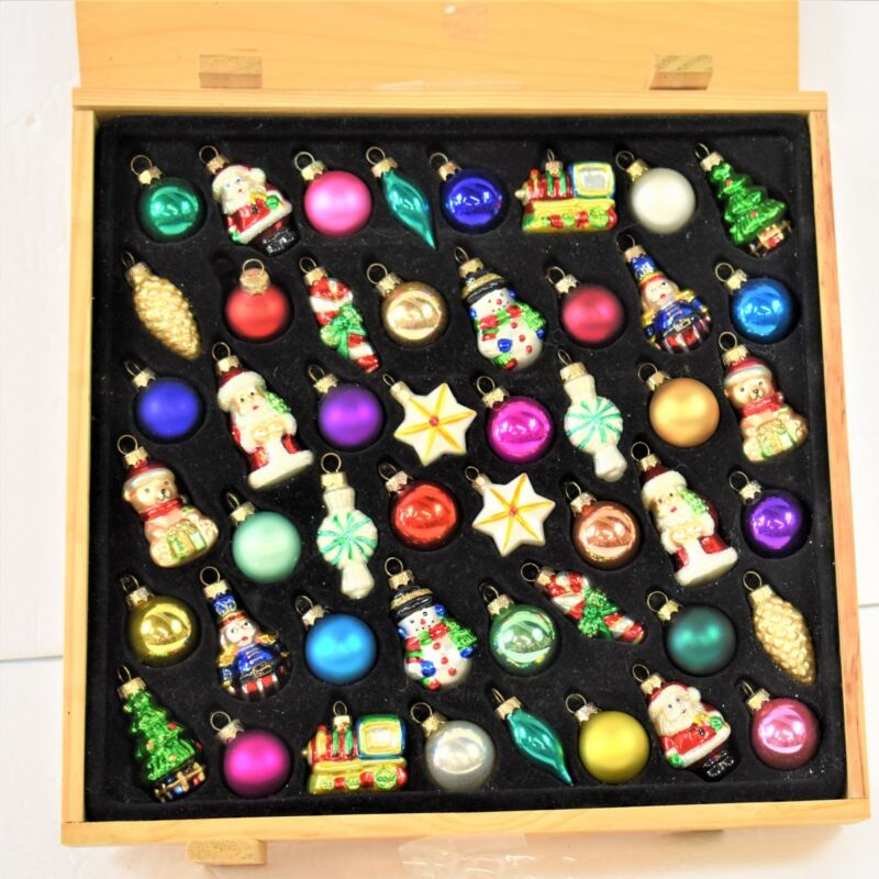 Catherine Lillywhites Set of 48 Miniature Ornaments in Wooden Crate Storage Box