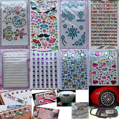 (Self Adhesive Glitter Rhinestone Crystal Stickers Diamond Gem Decal Random Color)