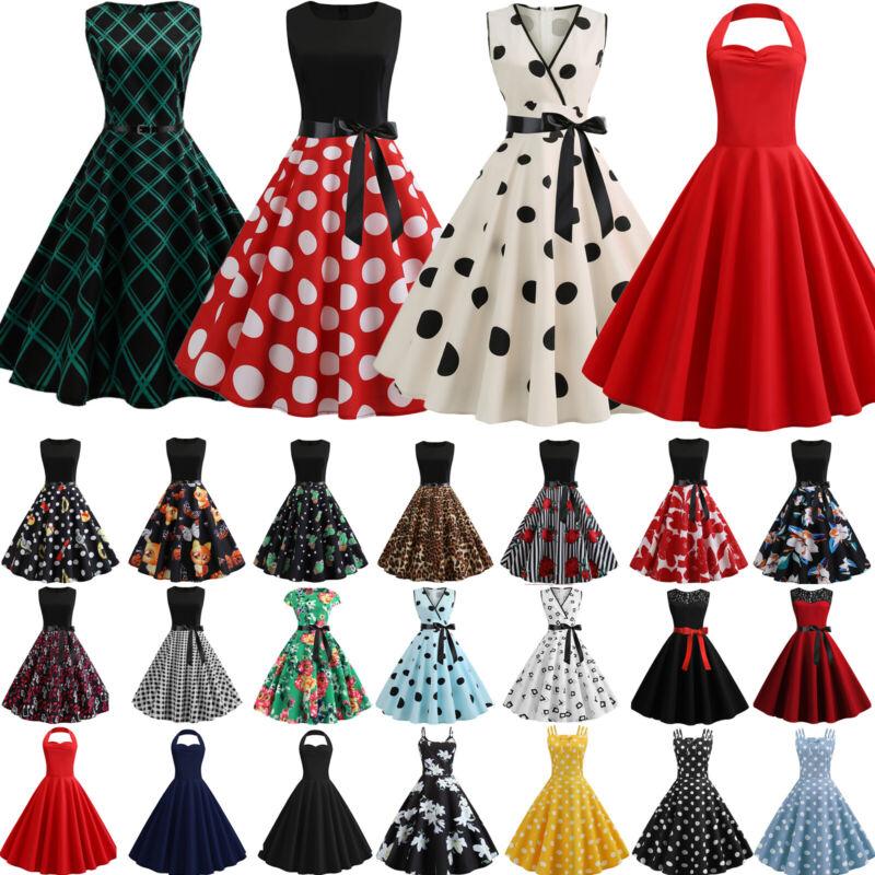 Damen Kleid Rockabilly Petticoat Sommerkleid Retro 50er 60er Jahre Vintage Party