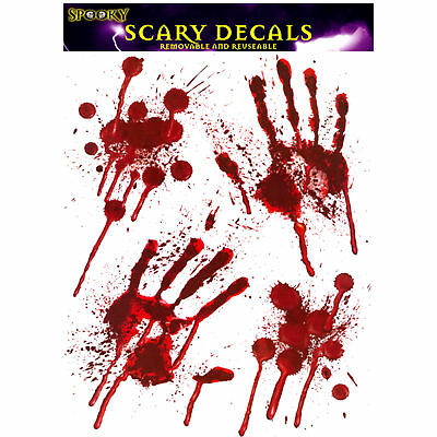 BLOODY HAND & Foot PRINT Stickers Halloween Decoration Zombie Dead Party Scary A - Zombie Hands Halloween Decorations