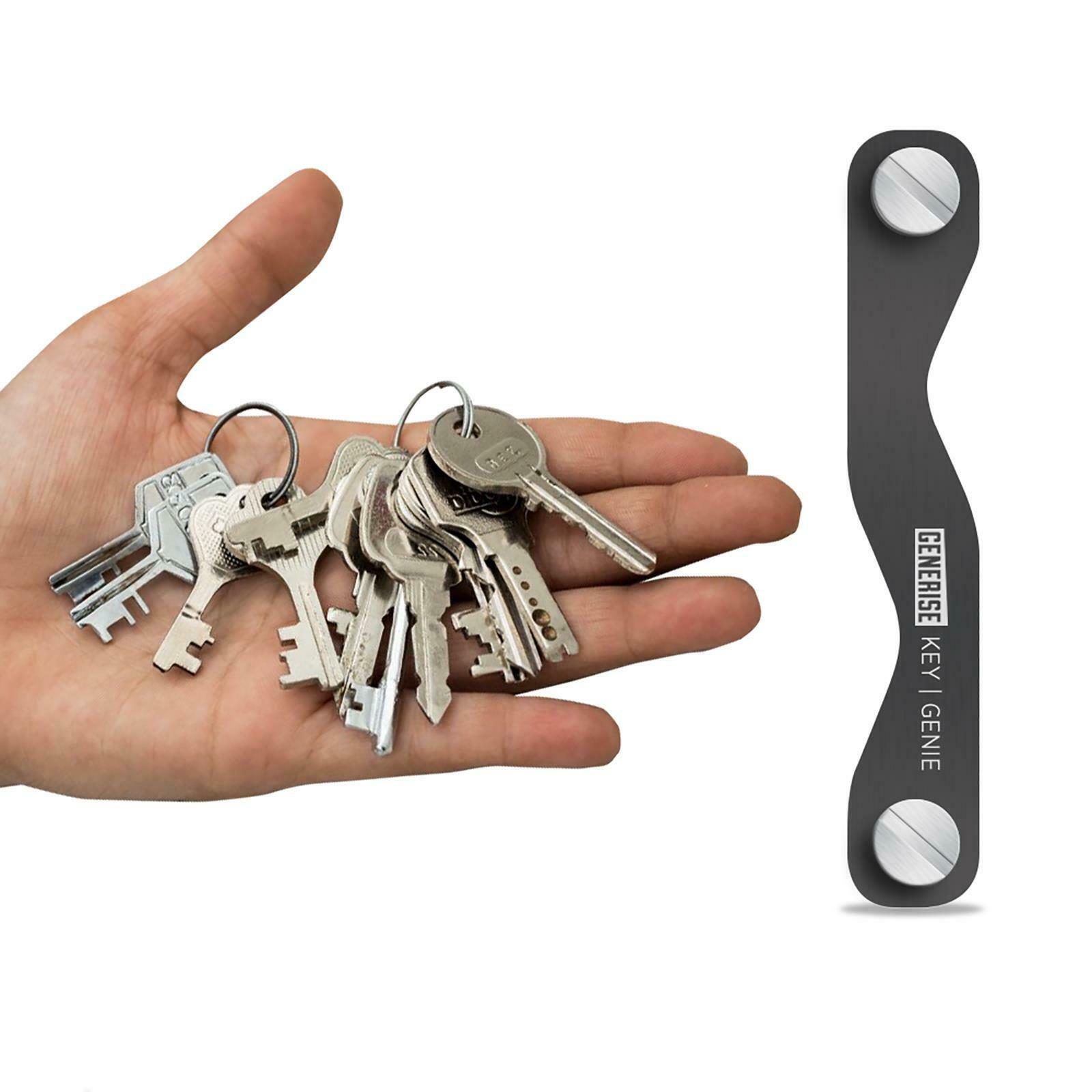 12 Clé Organisateur Smart Ring Format De Poche Compact Aluminium Support Genie Noir