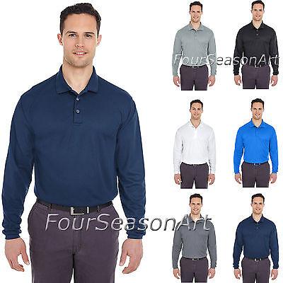 UltraClub Mens Cool&Dry Long-Sleeve Mesh Piqué Polo Shirt Moisture Wickin 8210LS